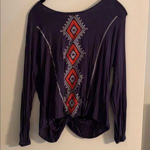 Embroidered top with open back